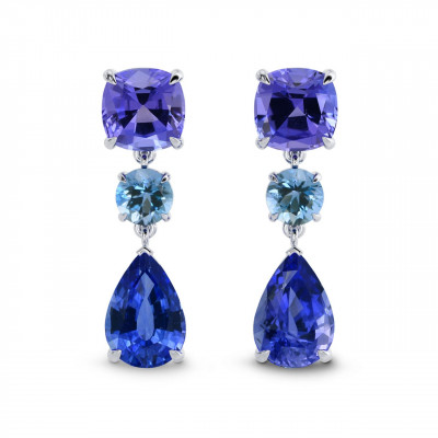 Sapphire Tanzanite & Aquamarine Earrings (5.94Ct TW)