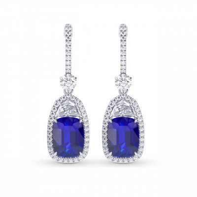 Sapphire & Diamond Drop Earrings (7.96Ct TW)