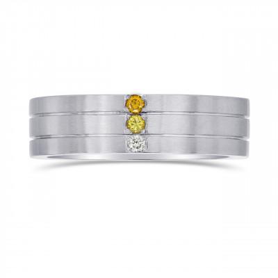 Gent's Graduated Yellow Diamond Band Ring (0.07Ct TW)