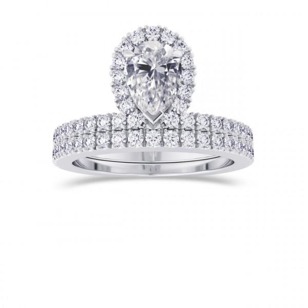 Pear Shaped Halo Diamond Engagement Ring & Wedding Band Set (1.20Ct TW)