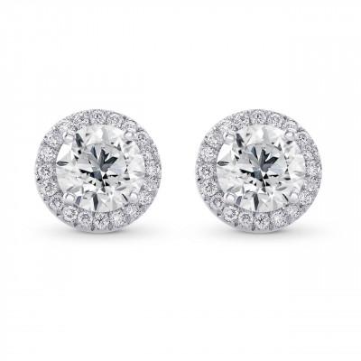 Round Brilliant GIA Diamond Halo Earrings (1.55Ct TW)
