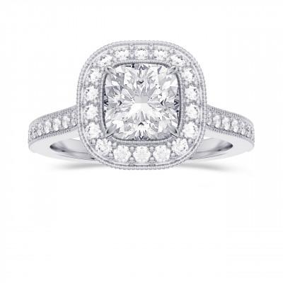 GIA Cushion Vintage Style Milgrain Halo Diamond Ring (1.30Ct TW)