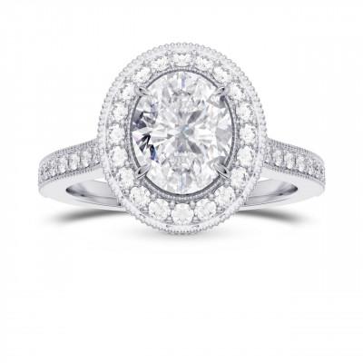 GIA Oval Diamond Style Milgrain Halo Diamond Ring (1.30Ct TW)