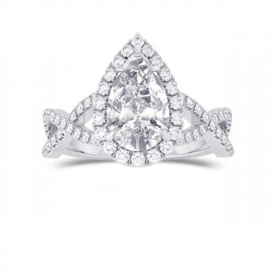 Pear Shape GIA Diamond Cross-over Halo Ring (1.95Ct TW)