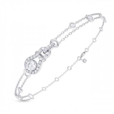 Round Brilliant Open Pave  Diamond Bracelet (0.72Ct TW)