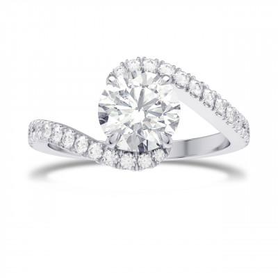 1.00ct Round Brilliant Diamond Cross-over Side-stone Diamond Ring (1.28Ct TW)