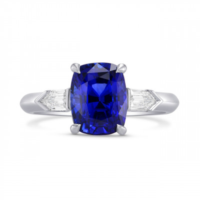 Royal Blue Sapphire Cushion & Diamond Engagement Ring (3.81Ct TW)