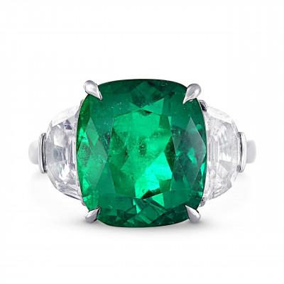 Extraordinary Colombian Emerald and Diamond 3 stone Platinum Ring (11.30Ct TW)