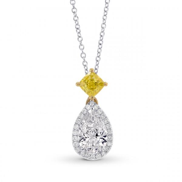 'D' Color Pear & Vivid Yellow Cushion Diamond Pendant (1.53Ct TW)