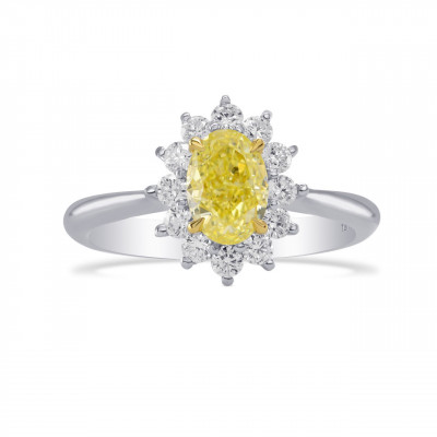 Fancy Yellow Oval Diamond Floral Halo Ring (1.37Ct TW)
