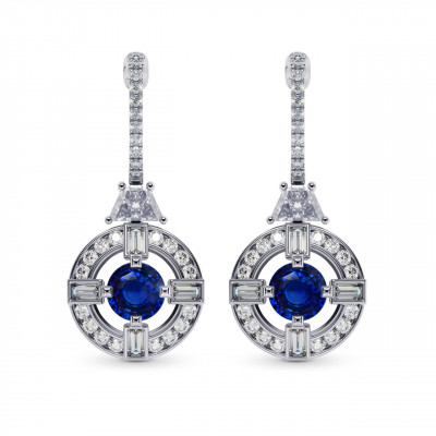 Sapphire & Diamond Drop Earrings (2.61Ct TW)