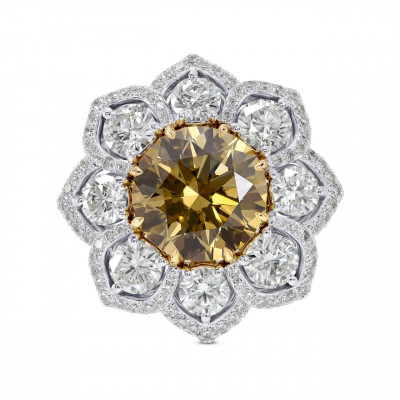 Couture Fancy Yellowish Brown Diamond Flower Ring (8.38Ct TW)