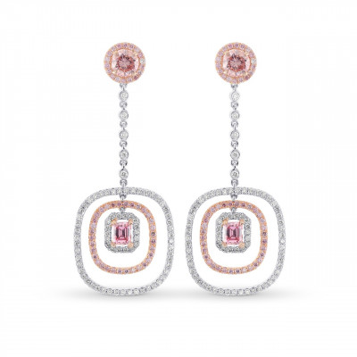 Pink Brilliant and Emerald Shape Diamond Halo Drop Earrings. (2.88Ct TW)