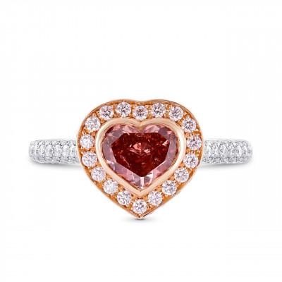 Fancy Deep Pink Heart Shape Diamond  Halo Ring (2.41Ct TW)