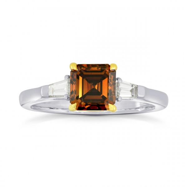 Fancy Dark Orange Brown Diamond Emerald Side Stone  Ring (1.77Ct TW)