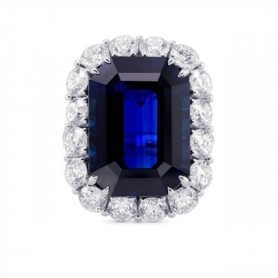 Extraordinary  Unheated Blue Sapphire Halo Ring (27.48Ct TW)