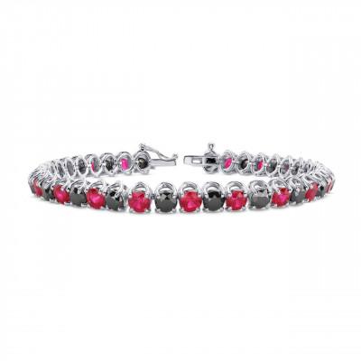 Black Diamond & Red Ruby Tennis Bracelet (17.00Ct TW)
