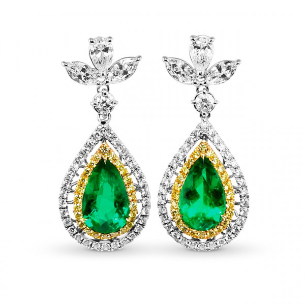 Colombian Pear Shape Emerald and Diamond Couture Earrings (7.67Ct TW)