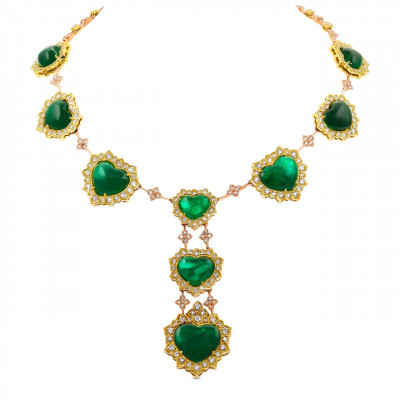 Emerald Heart Shape and Diamond Halo Necklace (73.58Ct TW)