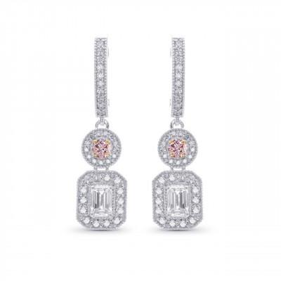 Round Fancy Pink & Emerald-cut Diamond Earrings (1.15Ct TW)