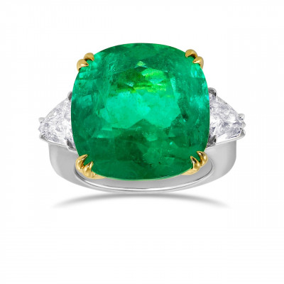 18.76ct Cushion Colombian Emerald 3 Stone Ring (19.64Ct TW)
