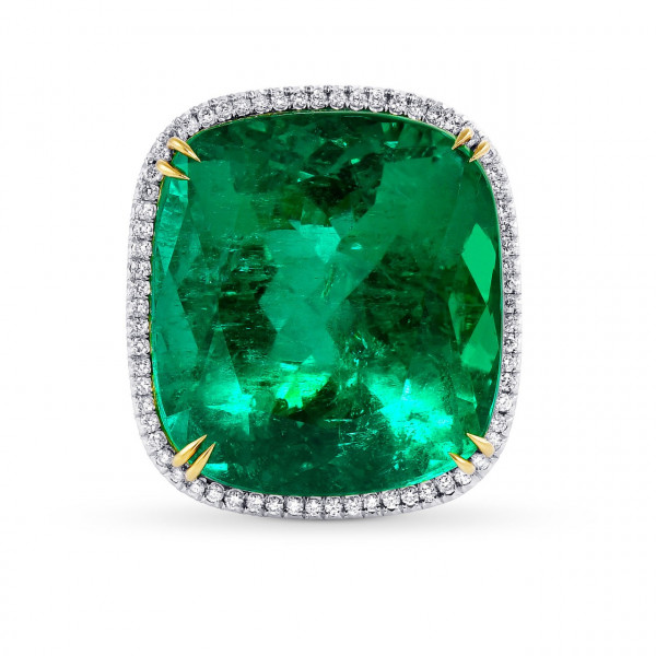 32.20ct Green Emerald Cushion and Diamond Pave Ring. (34.11Ct TW)