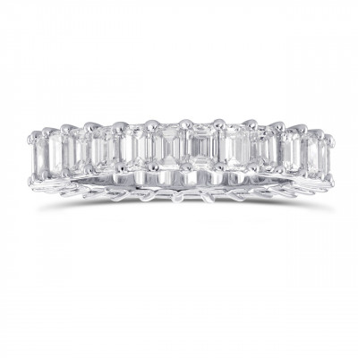 Platinum Emerald-Cut Diamond Full Eternity Band Ring (3.47Ct TW)
