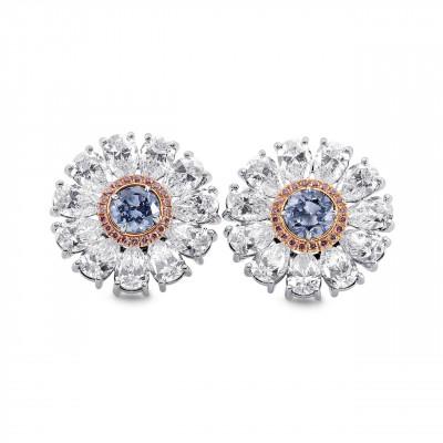 Fancy Intense Blue Diamond Flower Earrings (8.29Ct TW)