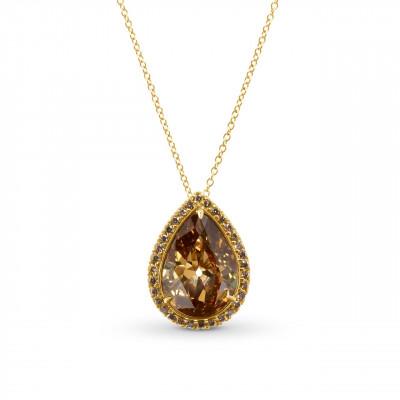 Fancy Deep Orange Brown Pear Shape Diamond Pendant. (4.46Ct TW)