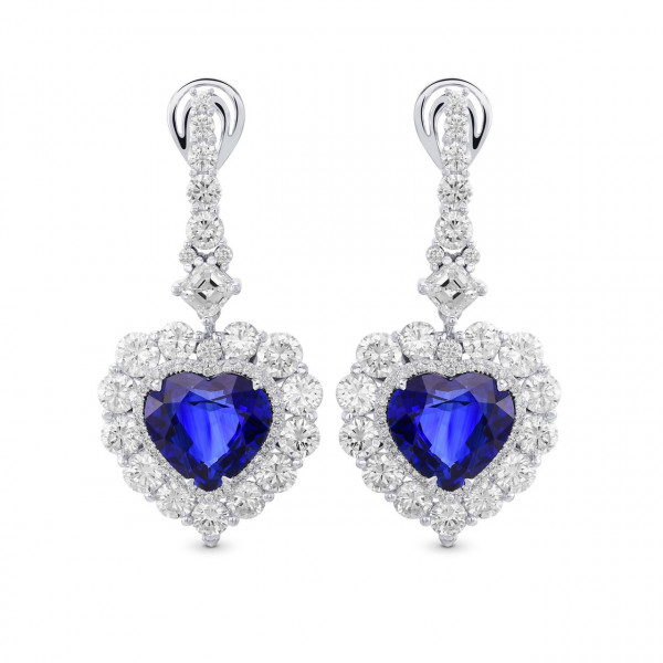 Blue Sapphire and Diamond Heart shape Drop Couture Earrings (23.59Ct TW)