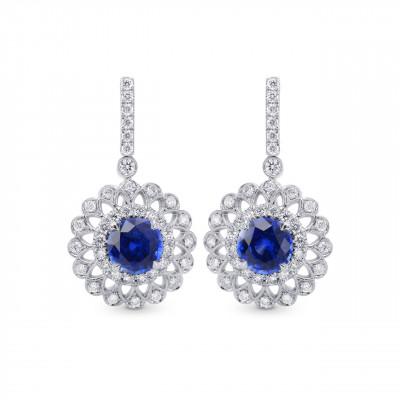 Blue Sapphire & Diamond Filigree Floral Halo Drop Earrings (1.88Ct TW)