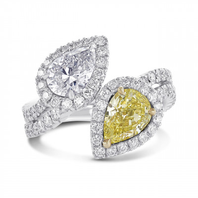 Fancy Intense Yellow and D color Pear Shape Diamond Two stone Ring (3.89Ct TW)