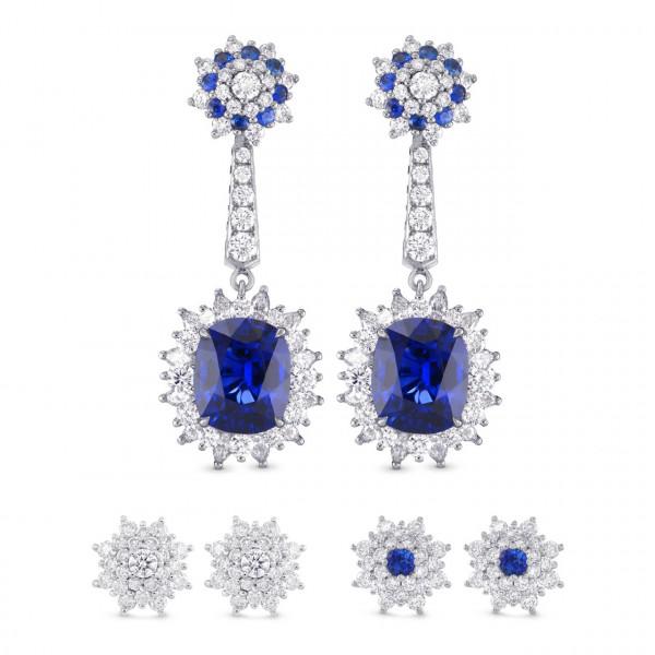 Blue Sapphire and Diamond Halo Drop Earrings (9.46Ct TW)