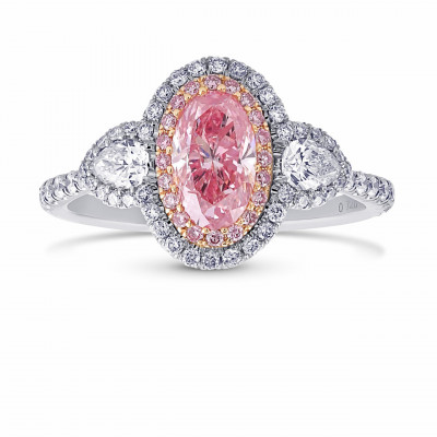 Extraordinary Argyle Fancy Intense Pink Oval Diamond Double Halo Ring (1.53Ct TW)