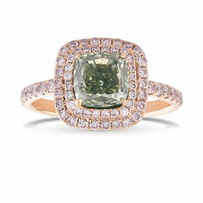 Fancy Grayish Yellowish Green Cushion Double Halo Diamond Ring (2.36Ct TW)