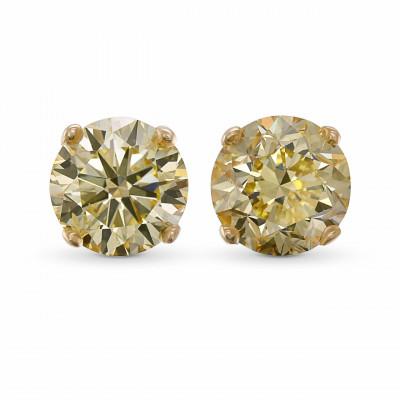 Fancy Yellow Brilliant Stud Diamond Earrings (4.30Ct TW)