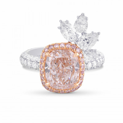 Couture Fancy Light Pink Cushion Halo Diamond Ring (5.03Ct TW)