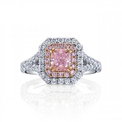 Fancy Intense Pink Radiant Diamond Halo Ring (2.05Ct TW)