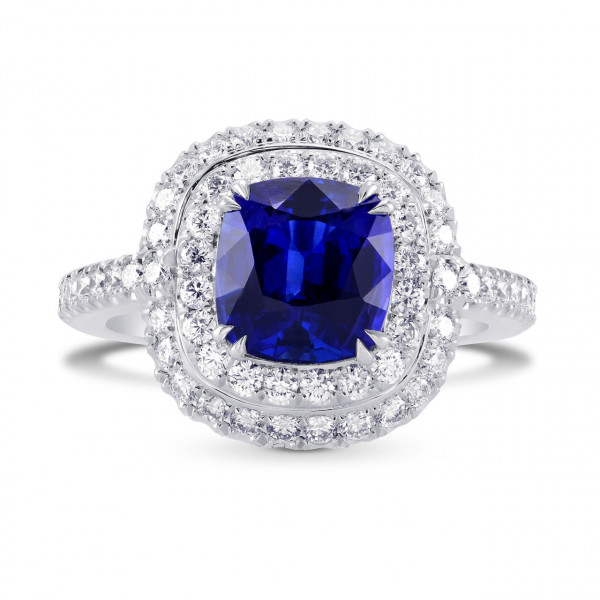 Blue Sapphire and Diamond Double Halo Platinum Ring (3.67Ct TW)