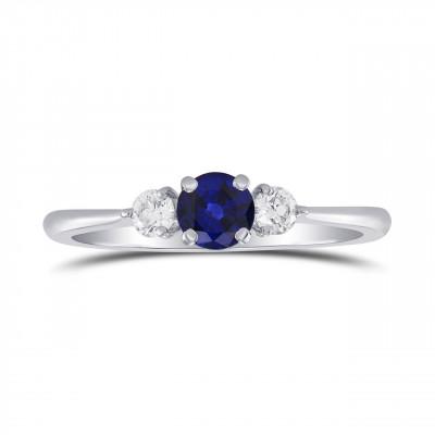 Blue Sapphire and Diamond Round Brillant 3 Stones Ring (0.54Ct TW)