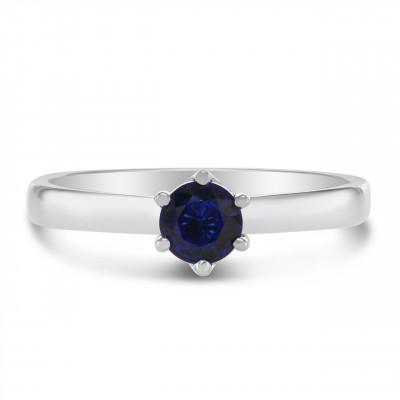 Classic Blue Sapphire Brilliant  Solitaire Ring (0.57Ct)