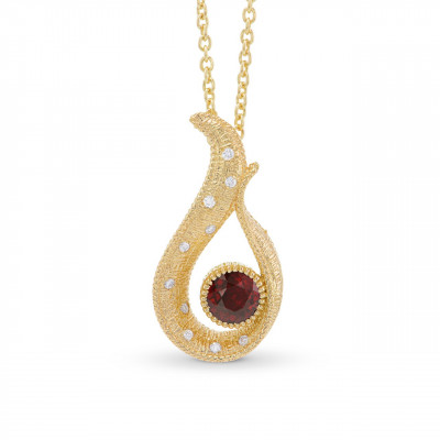 Pigeon Blood Red Ruby Drop Pendant (0.65Ct TW)