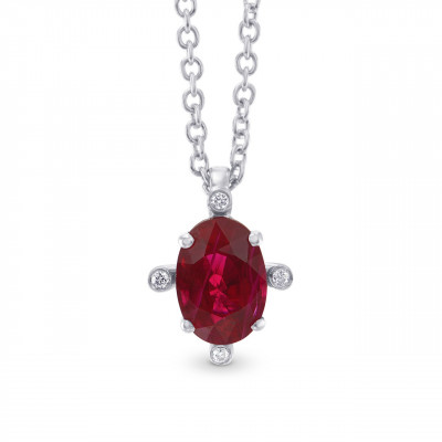 Red Ruby and Diamond Solitaire Pendant (0.99Ct TW)