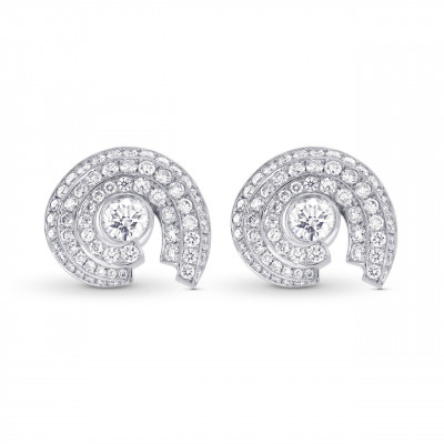 White Round Brilliant Halo Stud Earrings (1.60Ct TW)