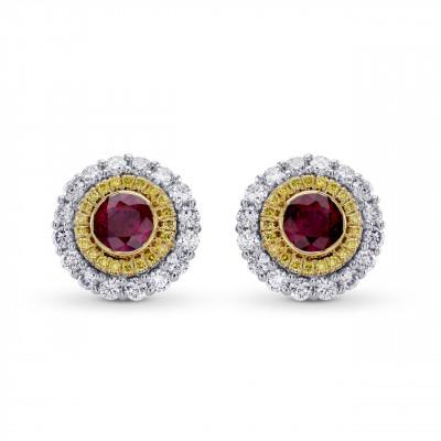 Ruby & Fancy Intense Yellow Diamond Halo Earrings (1.63Ct TW)