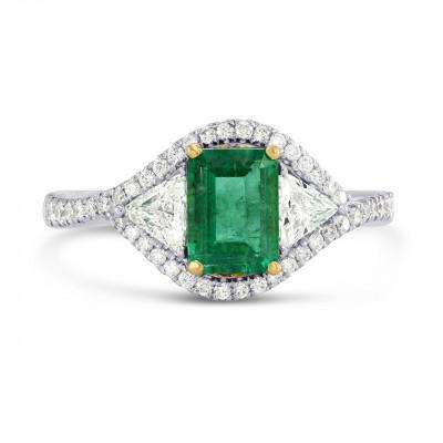 Green Emerald and Diamond Dress Halo Ring (1.76Ct TW)