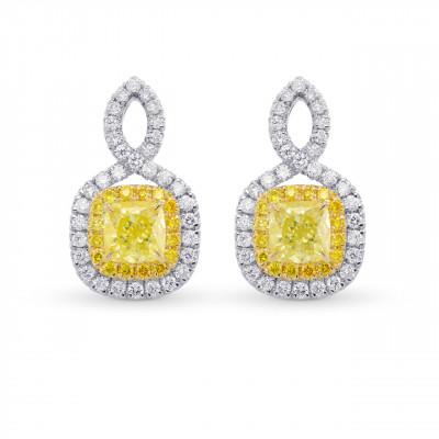 Fancy Yellow Cushion Double Halo Diamond Earrings (1.83Ct TW)