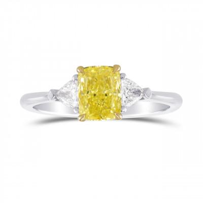 Fancy Intense Yellow Cushion 3 Stone Diamond Ring (1.25Ct TW)