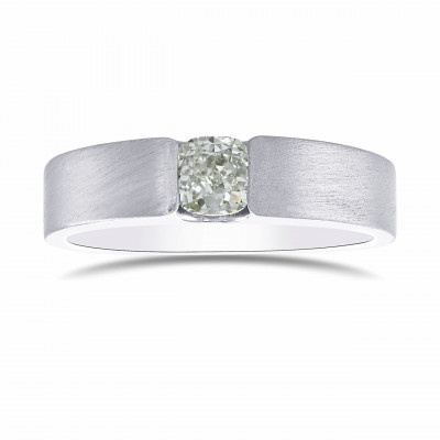 Fancy Light Green Cushion Diamond Solitaire Band (0.61Ct)
