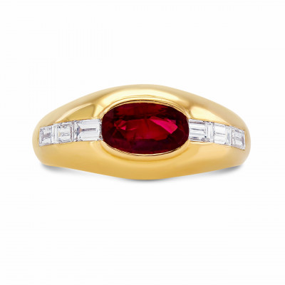 Extraordinary Oval Red Ruby and Diamond Ring (1.72Ct TW)